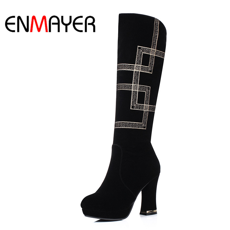 Nieve Rodillas De Botas Pie Mujeres Negro Moda Bolso Calidad Enmayer La Alta Casco Tacones Redondo Del Para Mujer Invierno Zapatos Dedo ARa5Fxq