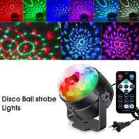 2PC Mini Remote RGB LED Crystal Magic Rotating Ball Stage Lights Sound Activated Disco Light Music Christmas Party EU/US/UK Plug