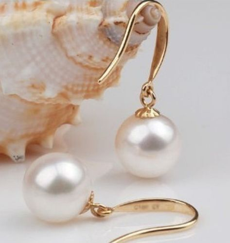ATTRACTIVE 9-10MM AKOYA WHITE PEARL EARRING YELLOW GOLD HOOK >>>girls  for women Free shipping