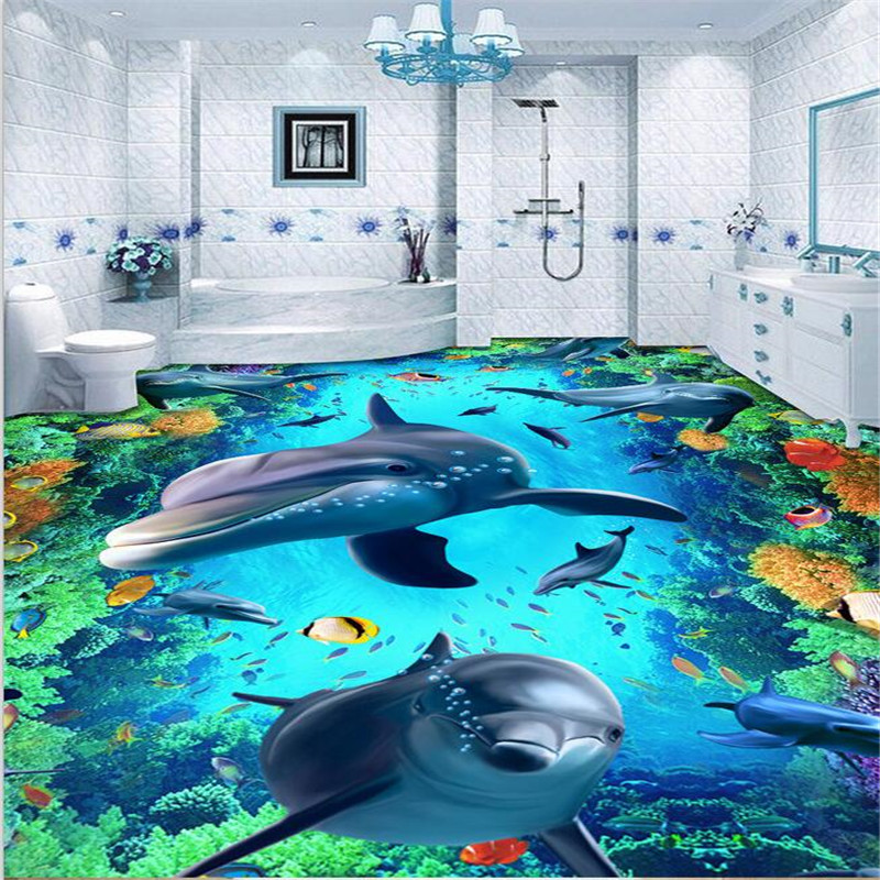beibehang quality Custom 3D floor wallpaper wear non-slip waterproof thickened self-adhesive PVC photo Wallpaper Murals color beibehang custom photo floor painted
