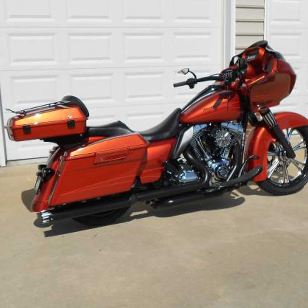 AdvanBlack Razor Tour Pack Chopped Back pad Amber Whiskey For Harley Touring Street Electra Road Glide Road King 2014-2017