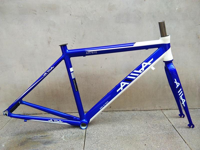 AIMA 700c light weight aluminum alloy 47cm road bike frame with fork tsunami 520 with 4130 cr mo steel road bike frame fork 700c classic frameset brush silver color venus