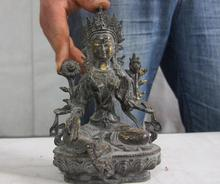 Tibet buddhism bronze copper gild Green Tara Kwan-Yin Bodhisattva buddha statue