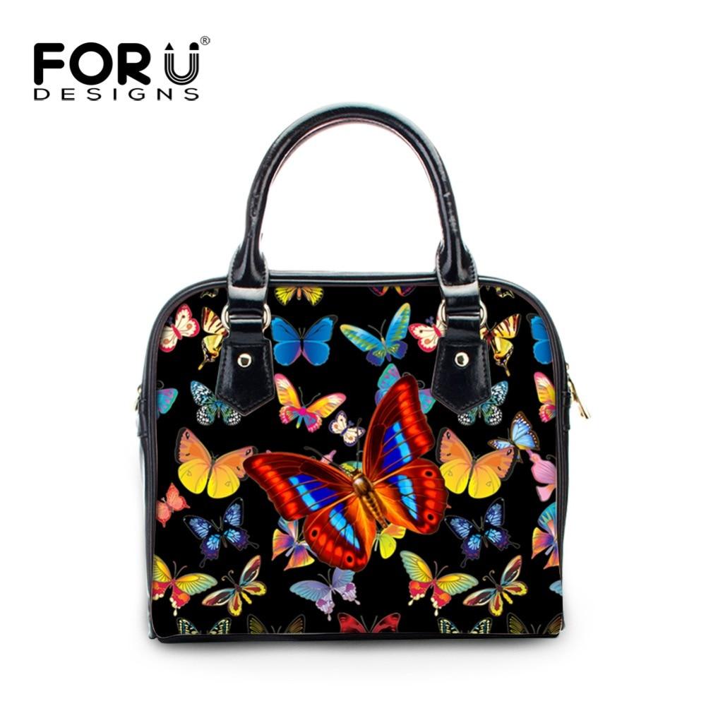 FORUDESIGNS Women Small Handbags Butterfly Printing Girls Crossbody Bag Vintage Small PU Leather Shoulder Bags Ladies Satchel