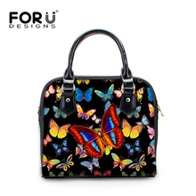 FORUDESIGNS Women Small Handbags Butterfly Printing Girls Crossbody Bag Vintage Small PU Leather Shoulder Bags Ladies Satchel