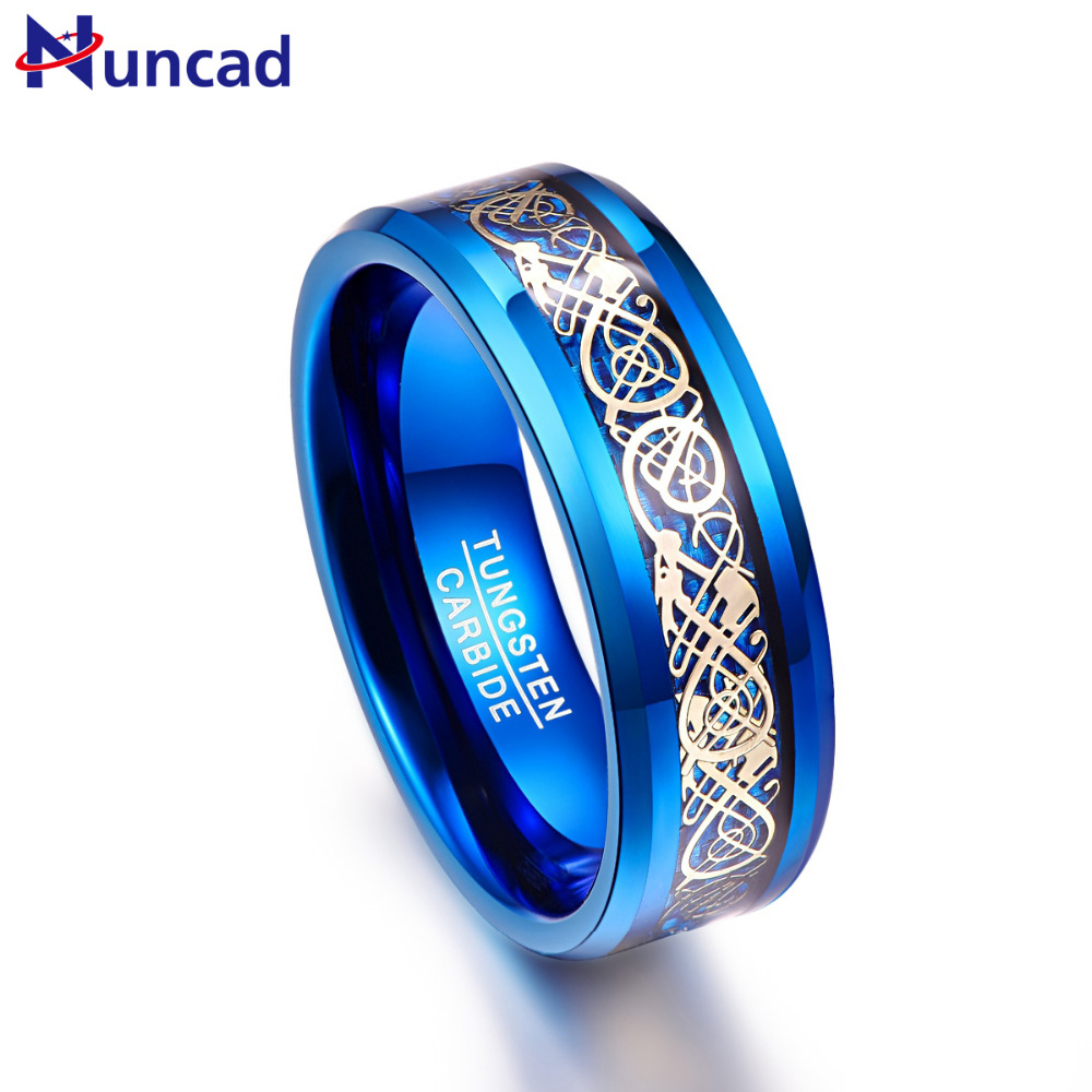 Nuncad Men's 8mm Blue Tungsten Carbide Wedding Band Rings Gold Celtic Dragon Blue Carbon Fiber Beveled Edge