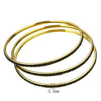 YYW Stainless Steel Bangle Set Fashion Jewelry in Bulk Gold-color for woman rhinestone Approx 8.5 Inch, 3PCs/Set, Sold By Set