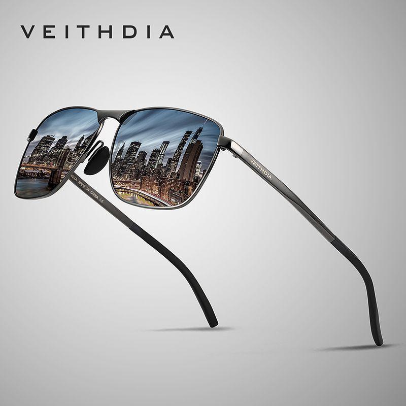 Veithdia 2019 marca designer moda praça óculos de sol dos homens polarizado revestimento espelho óculos de sol acessórios para homem 2462