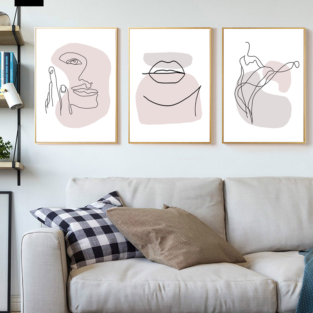 Abstract Canvas Art Print Woman Abstract Ink Lines Poster Pop Art Canvas Painting For Living Room Modern Hanging Nordic Unframed in Painting Calligraphy from Home Garden