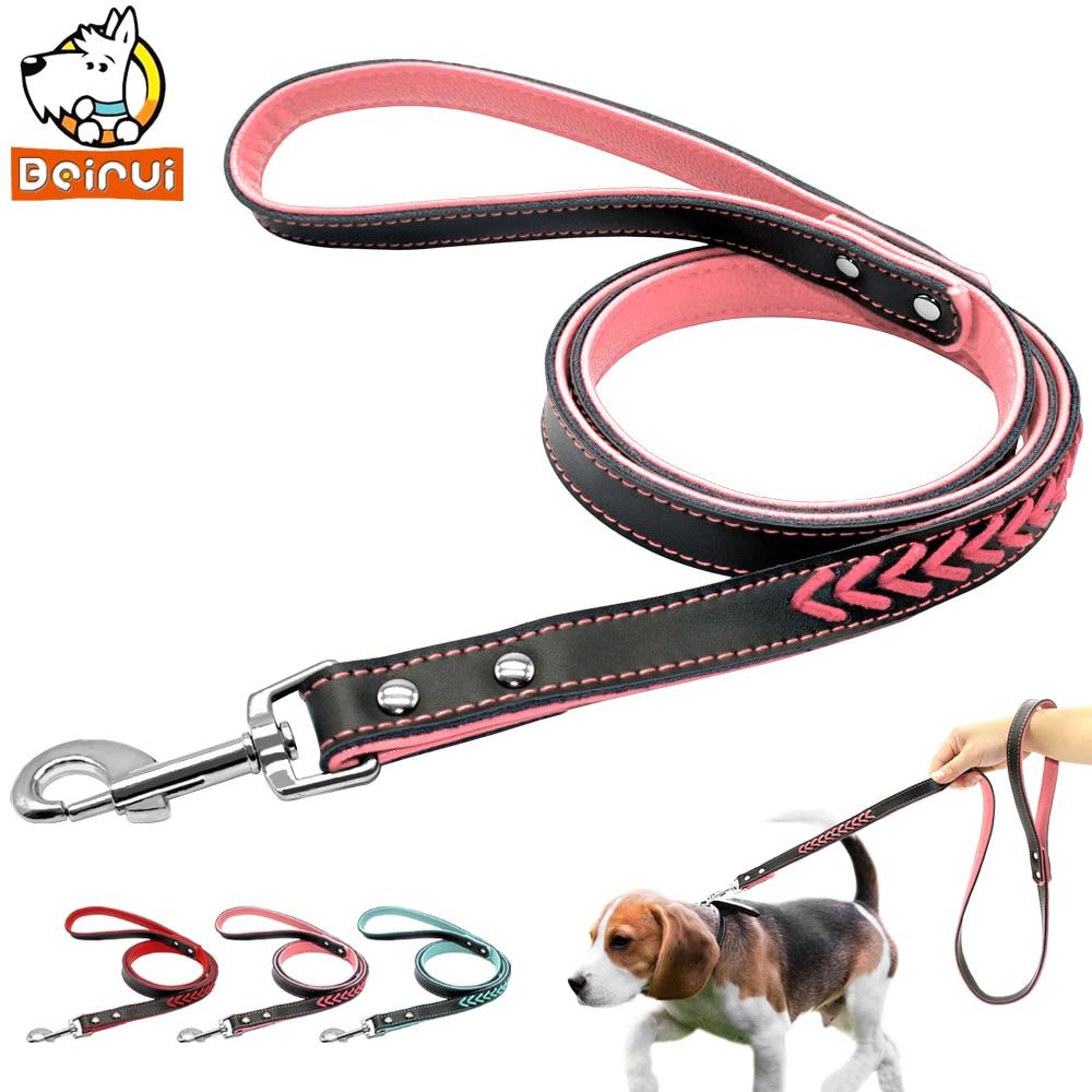 Cuero durable perro perrito gato caminar leads Correas para pequeño mediano grande Perros Chihuahua Rosa Azul Rojo hundeleine
