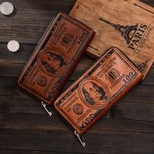 Vintage PU Läder Män Plånbok Högkvalitativa Kreativa Dollar Mens Plånböcker Och Purses Portable Card Holder Lång Style Läder Purse
