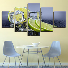 Canvas Prints Pictures Kitchen Wall Art 5 Pieces Fruit Lemon Ice Cubes Paintings Home Decor Food Drink Poster Unframed(China)