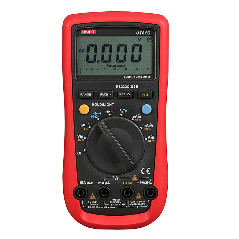 UT61C Handheld Multimeter Ammeter Ohm Volt C/F Temperature Digital Universal Meter LCD Count 5999 AVO Meter High PrecisionUNI-T free shipping multimeter 830l handheld digital universal table with multi meter multimeter