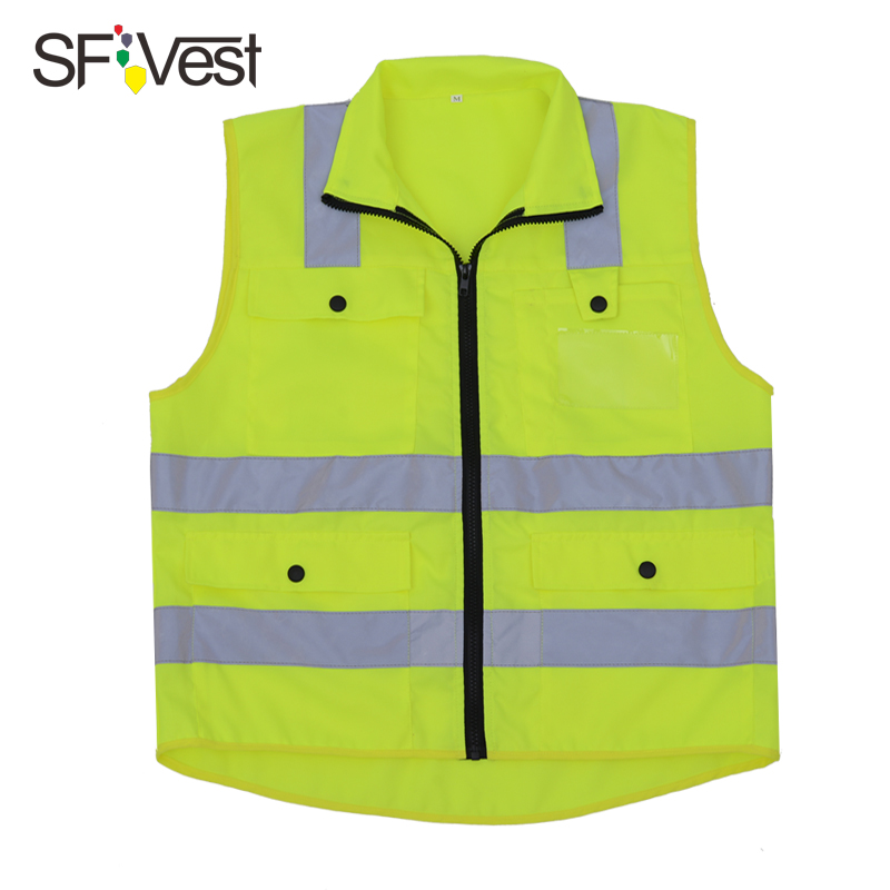 SFVEST Security Visibility Reflective Vest Construction Traffic Warehouse REFLECTIVE SAFETY SECURITY VEST YELLOW FREE SHIPPING