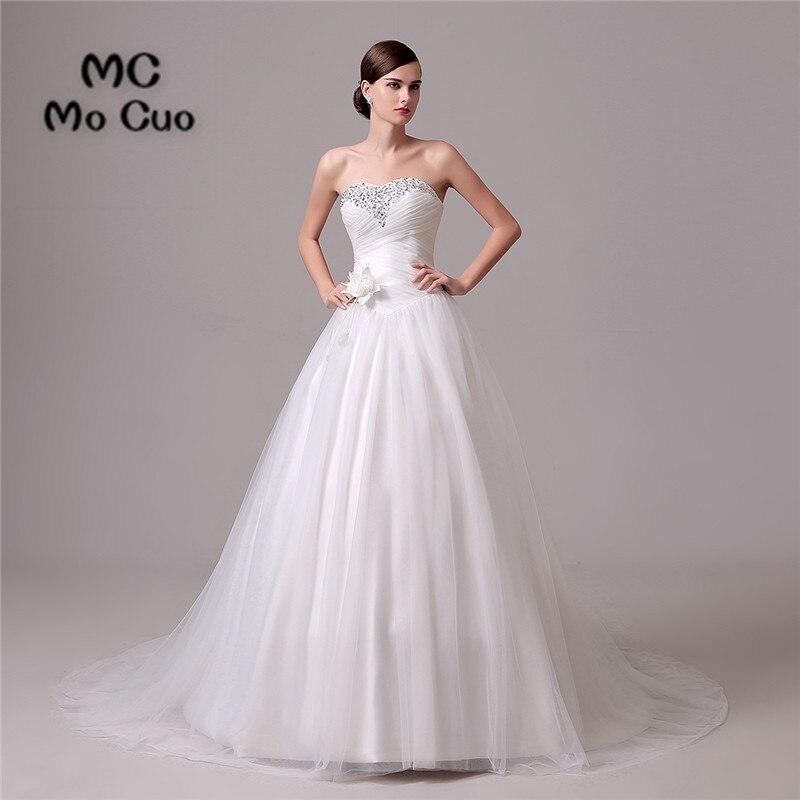 High Quality 2017 Robe de mariage Custom Made Bridal Gowns Wedding Dresses Pleat Crystals Beaded vestido de noiva Wedding Dress