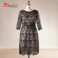 2018 Spring Plus Size O neck Long Sleeves Black Lace Sheath Formal Mother of the Bride Dress Custom Made