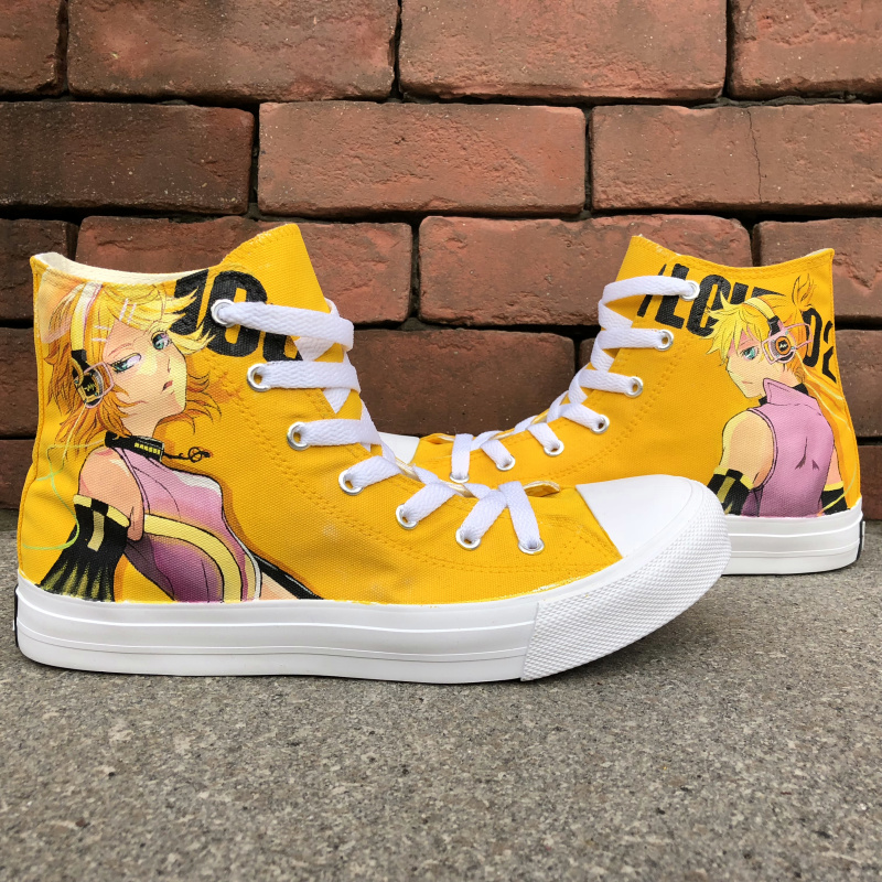 Wen Anime Hand Painted Design Shoes Hatsune Miku VOCALOID High Top Yellow Canvas Shoes Laced Sneakers for Men Women Gifts