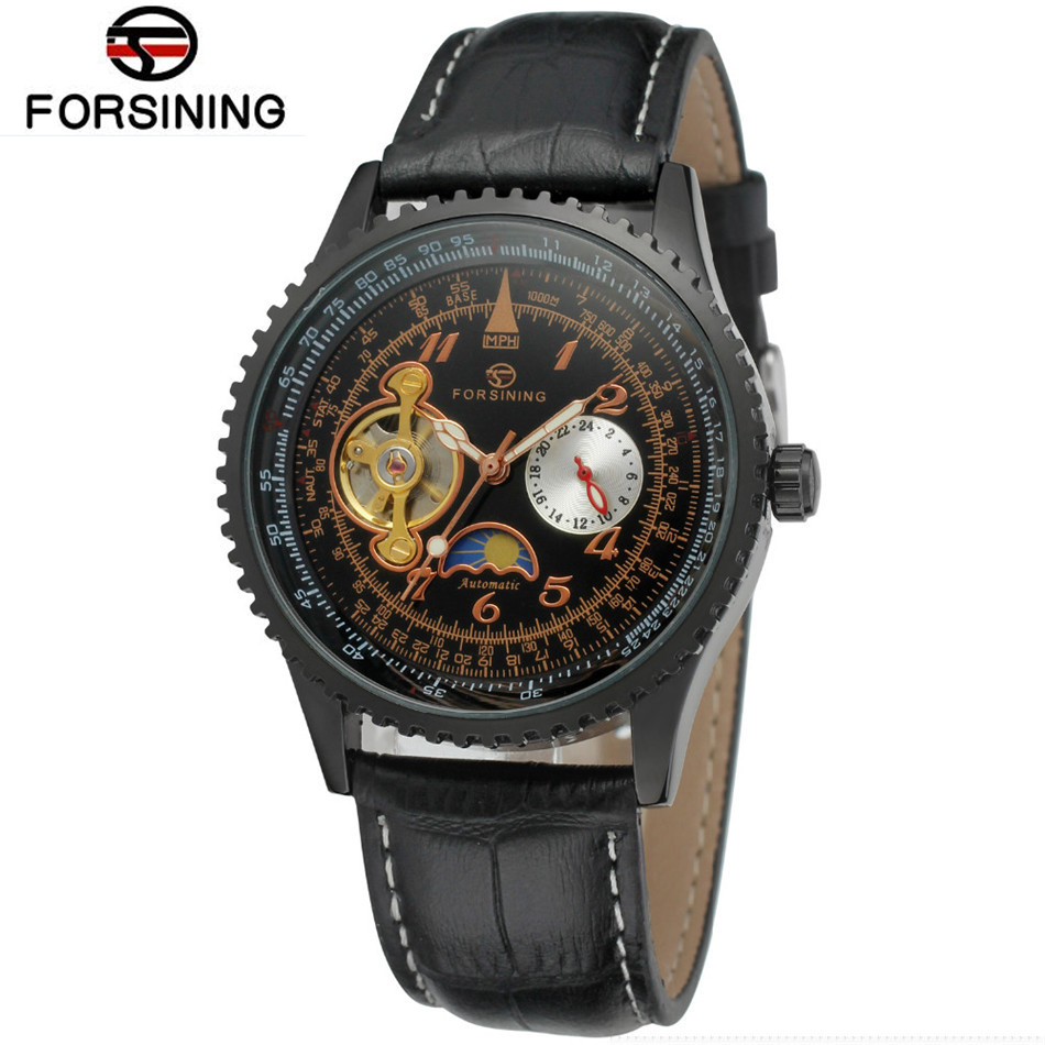 Forsining Watch Men Men's Flywheel Moonphase Auto Mechanical Watches PU Leather Strap Wristwatches Free Ship
