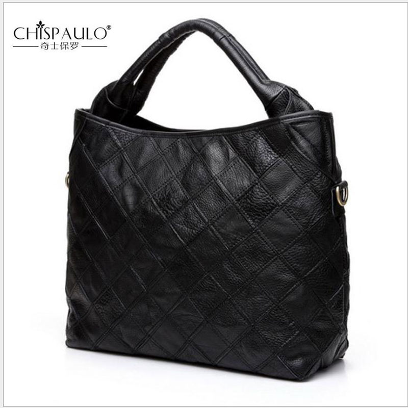 CHISPAULO Fashion Women Handbag Genuine Leather Women Bag  Patchwork Casual Shoulder Bag Famous Designer Brand Bag Luxury Totes luxury genuine leather bag fashion brand designer women handbag cowhide leather shoulder composite bag casual totes