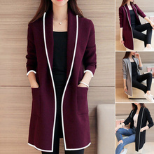 New Arrival Women Autumn Winter Pockets Long Sleeve Cardigan Slim Fit Soft Coat