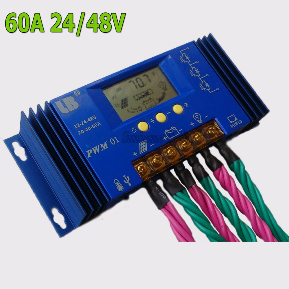 60a 24v Solar Controller 48v Panel Battery Charge Pwm 20 Amp 12 24 Volt For Pv Lb01 Series Is An Intelligent Multi Purpose Energy Converters To Various Types Of Charging And Discharging