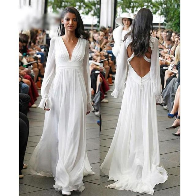 11694369195 Long Sleeves Backless Hippie Wedding Dresses 2017 A Line V Neck Long  Chiffon Summer Beach Boho Wedding Gowns Plus Size Maternity