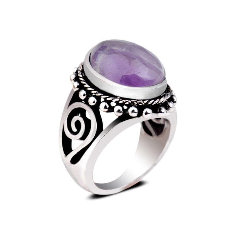 ใหม่ Tiger eye โบราณแหวนเงิน Vintage Oval Amethyst Lapis lazul หินการตั้งค่า Fox Tail ผู้หญิงผู้ชายแหวน
