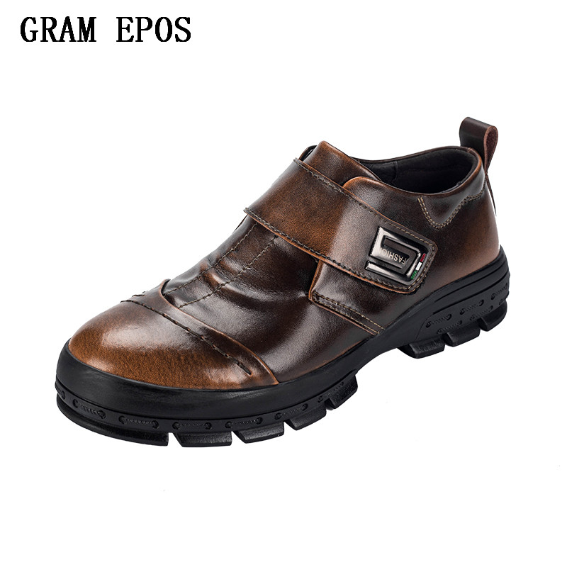 GRAM EPOS British Style Men Causal Shoes Genuine Leather Men Shoes Slip On Men High Quality Fashion Shoes Breathable Mens Shoes