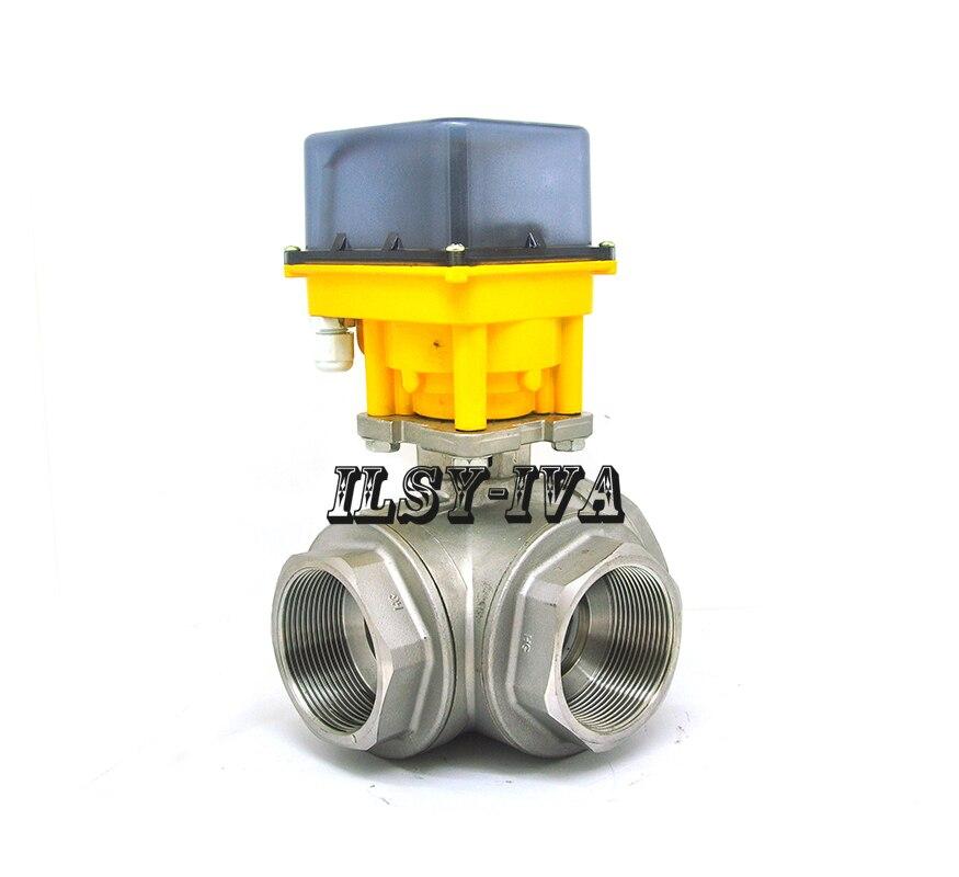 G2 AC12V/24V/220V fixed-type motorized valve,DN50 3-way Stainless steel electric ball valve