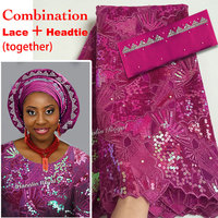 5 Yards African French Lace Fabric Sewing Tulle Fabric Matching African Beaded Applique Aso Oke Full