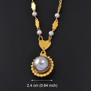 Image 4 - Anniyo Marshall Pearl Pendant Ball Beads Necklaces Jewelry Set Women Gold Color Guam Micronesia Jewelry Hawaii Gift #164606