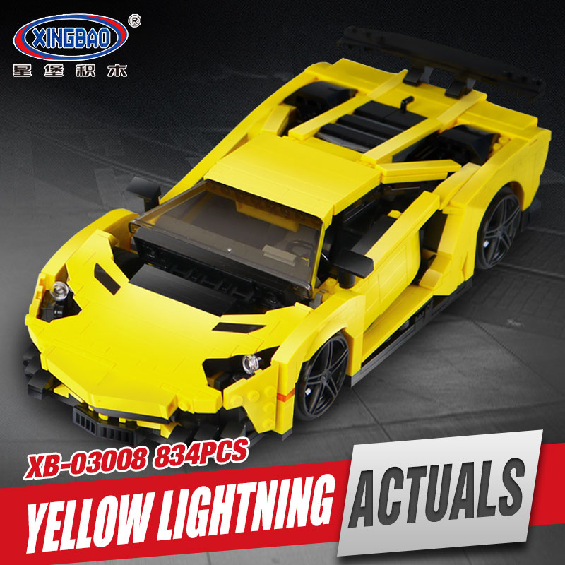 XingBao 03008 924Pcs Creative MOC Technic Series The Yellow Flash Racing Car Set Educational Building Blocks Bricks Toys Model