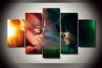 AtFipan unframed Flash Arrow The Fladh Tv Painting On Canvas Room Decoration Print Picture 5 Pieces wall art movie posters