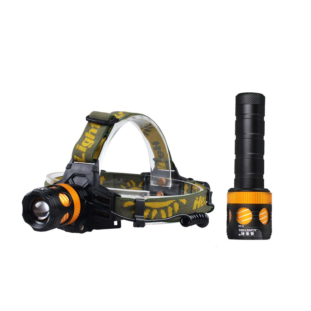 JUJINGYANG LED strong light dual light source lamp night fishing outdoor searchlight