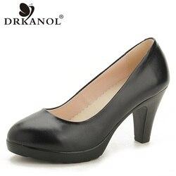 DRKANOL-zapatos de tacón alto de piel auténtica para mujer, calzado clásico de punta estrecha, color negro, para oficina de Señoritas, primavera y otoño, 2020