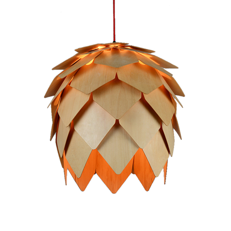 Modern Art OAK Wooden Pinecone Pendant Lights Hanging Wood PH Artichoke Lamp Fixtures Dinning Room Restaurant Retro Luminaire 50cm aluminium luz pendente modern lamp designs ph artichoke pendant lights for home white luminaria 110v 220v