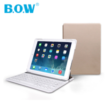 B.O.W For iPad air 2 (iPad 6) Ultra Thin& Slim Bluetooth wireless Keyboard Case with Smart Shell Dual-View Stand leather case