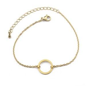 Минималистичные ювелирные изделия, Модный Круглый браслет розового золота, круглые шармы, браслеты из нержавеющей стали для женщин, Pulseras ...