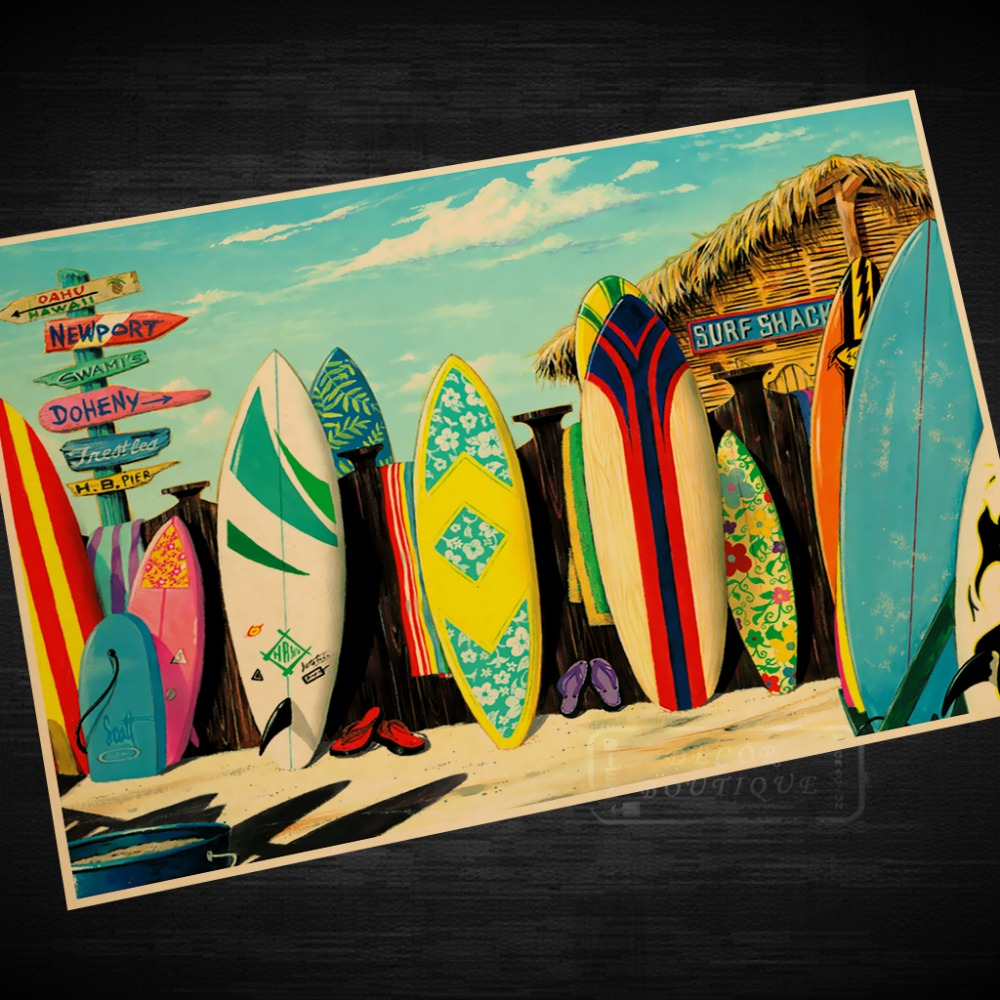 Vintage Travel Trailers: Surf Board Shop Vintage Travel Surf Beach Poster Retro