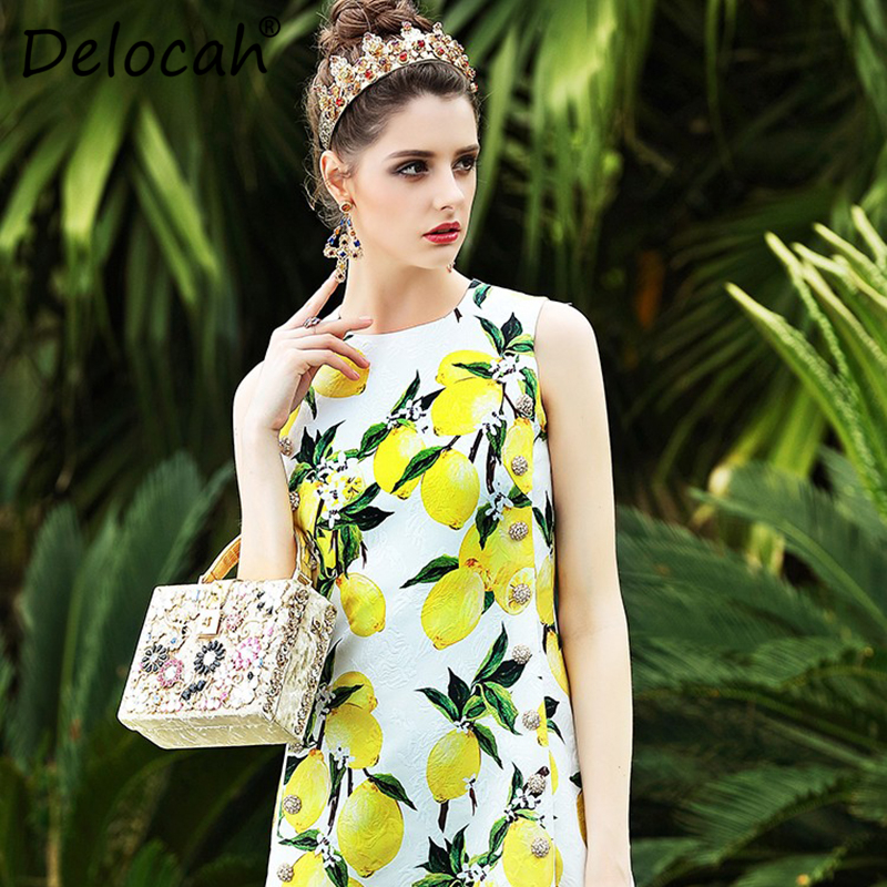 Delocah Summer Fashion Designer Dress Women s Sleeveless Gorgeous Crystal Button Lemon Printed Casual Dress High