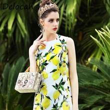 Delocah Summer Fashion Designer Dress Womens Sleeveless Gorgeous Crystal Button Lemon Printed Casual High Quality
