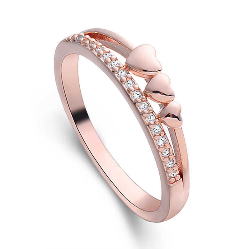 MISANANRYNE New rose Gold Color Cubic Zirconia Heart Ring Engagement lovers girlfriends gift anillos Ring Size 7-8-9