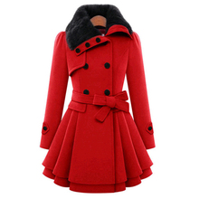 Большие размеры 4XL, зимнее женское длинное теплое рождественское пальто, двубортное пальто трапециевидной формы, однотонное женское осеннее плотное шерстяное пальто