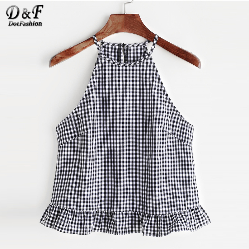Dotfashion Black and White Gingham Buttoned Keyhole Back Vest Frill Halter Top 2018 Summer Women Vacation Vest