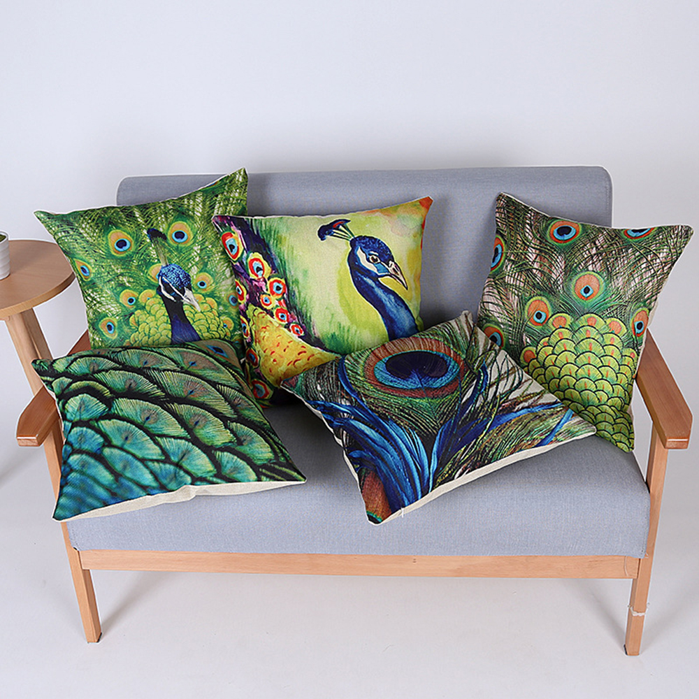 Painted peacock chair - Retro European Painted Peacock Square Pillowcases Office Chair Waist Pads Digital Printing Decorative Throw Pillow Cover