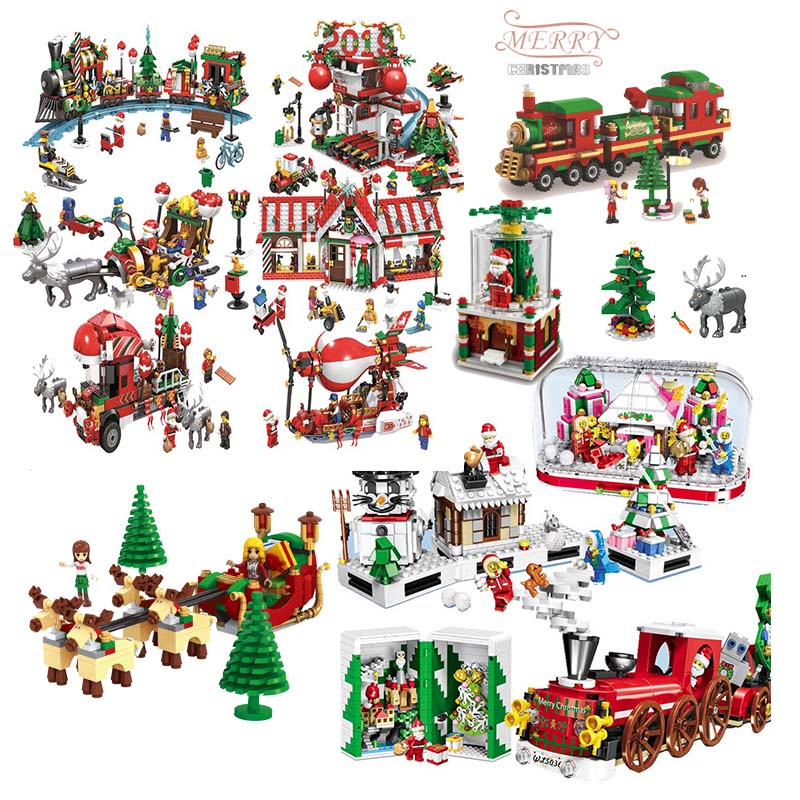 2018 New Year Gift Christmas Deals Train Hot Air Balloon Elk Model Building Blocks Bricks For Kids Toy Compatible With Legoings Fancy Colours