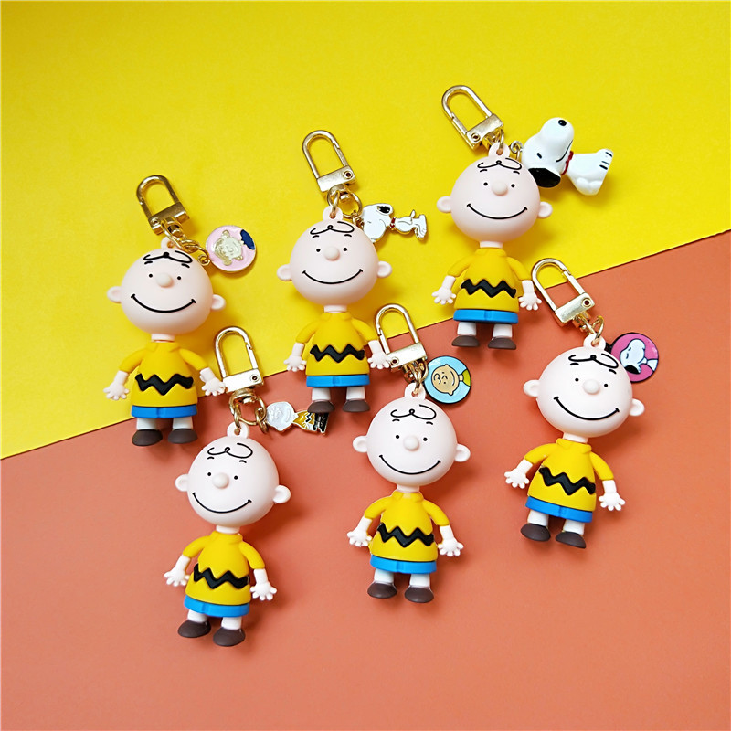 2019 New Cute Cartoon Charlie Brown Keychain For Girls Car Or Bag Keyring Anime Key Chain Gifts Or Men Key Chain Women Keychain
