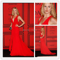 Sexy Deep V Neck Evening Long Dress Celebrity Dresses Red Carpet Long Chiffon Backless New Brand