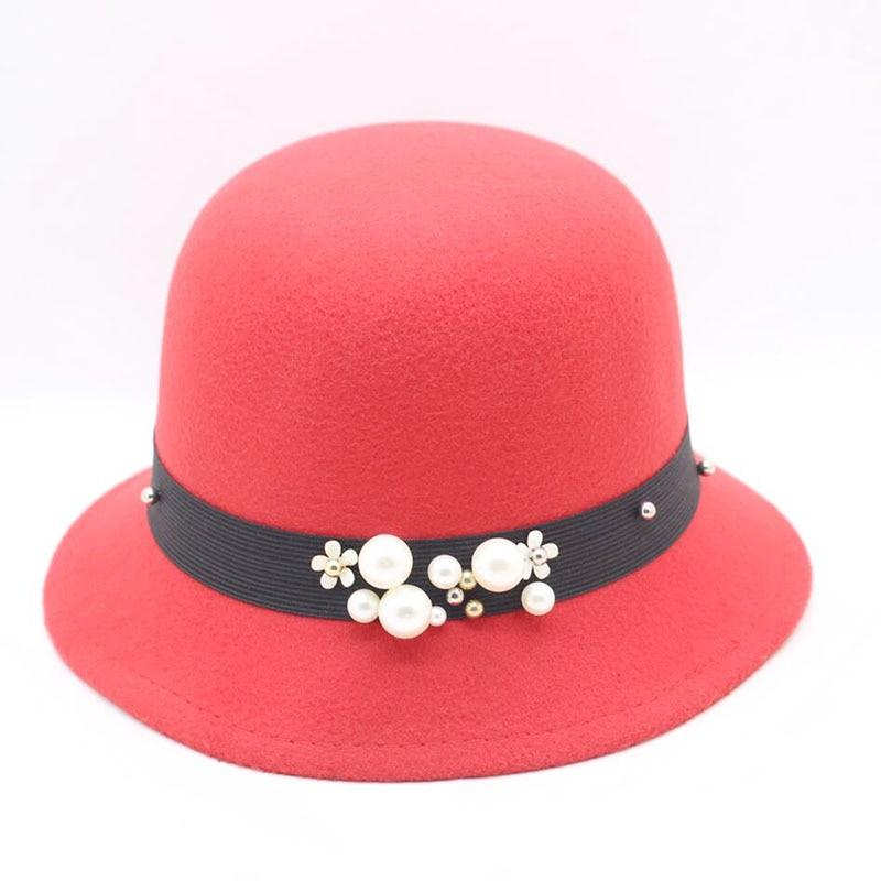 SUOGRY Elegante Chapéu de Mulheres Das Senhoras Retro Pérola Inverno Chapéu  de Feltro De Lã Bowler Hat Aba Larga Sólida para Mulheres Floppy Cloche  chapéus ... c073ccc5cd9