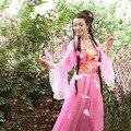 Китайский танец костюм для женщин тан-костюм hanfu платье guzheng костюм феи шифоновая юбка китайский народный танец костюм